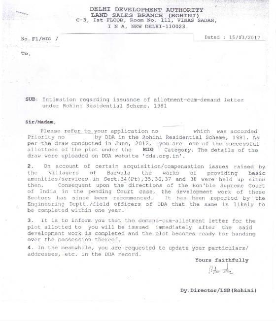 Dda Rohini Residential Plot Scheme 1981